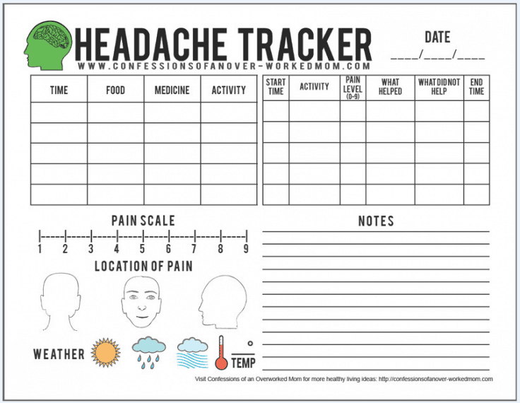 Helpful Migraine Tips & Printable Headache Tracker
